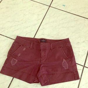 American eagle burgundy stretch shorts size 6